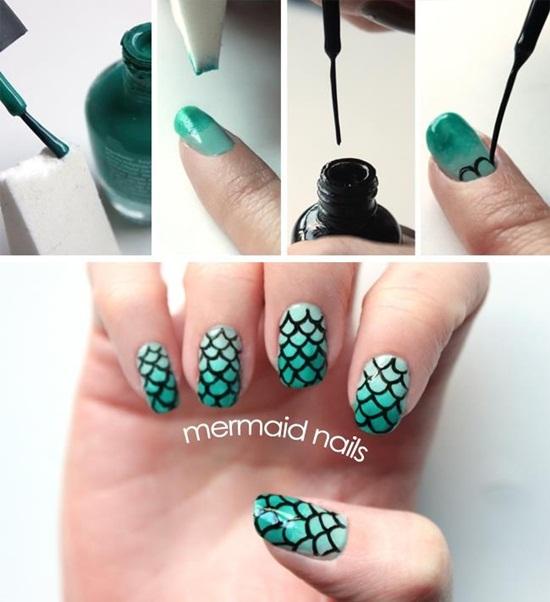 30 Classic Mermaid Nails Art Design