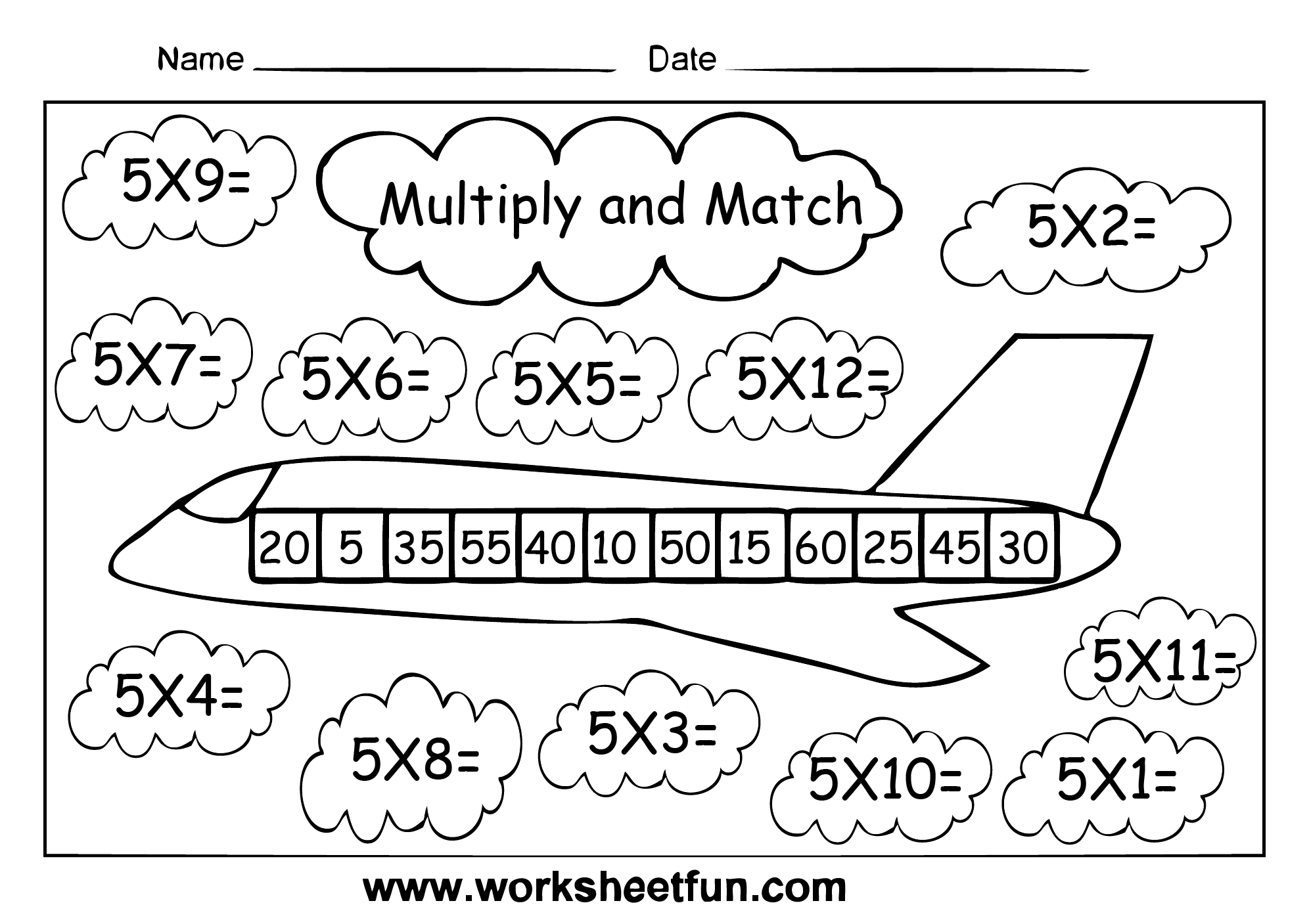Multiply And Match Multiplication Activity Multiply By 2 3 4 5 6 7 8 And 9 Free