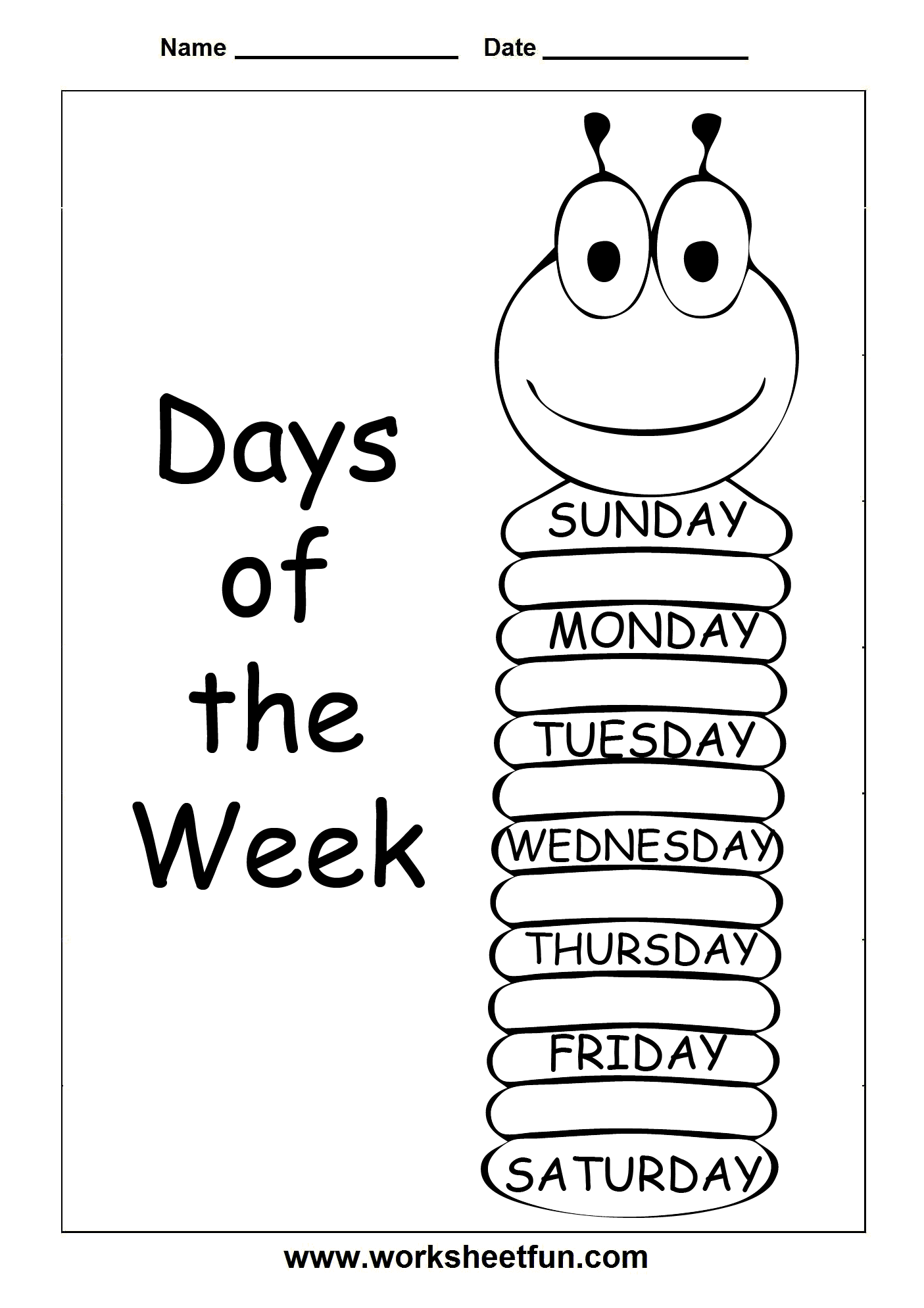 Days Of The Week 3 Worksheets Free Printable