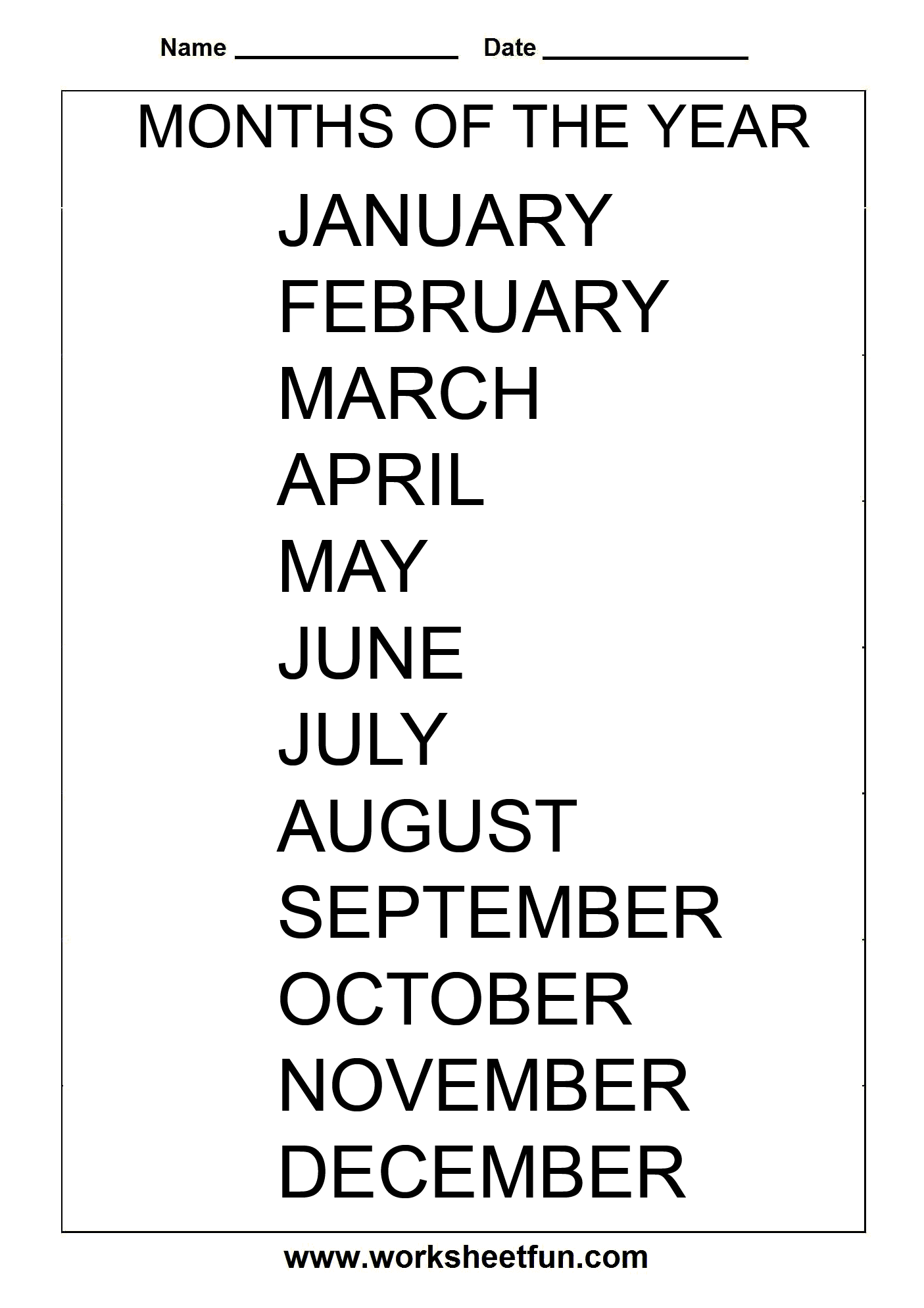 Months Of The Year 1 Worksheet Free Printable