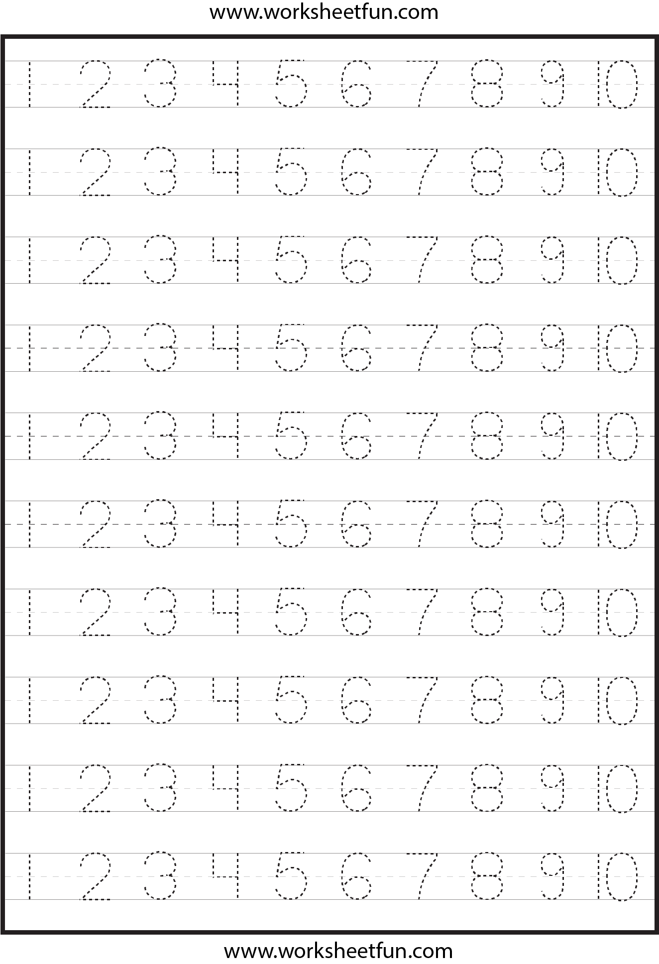 Tracing Numbers 1 100 Printable Worksheet