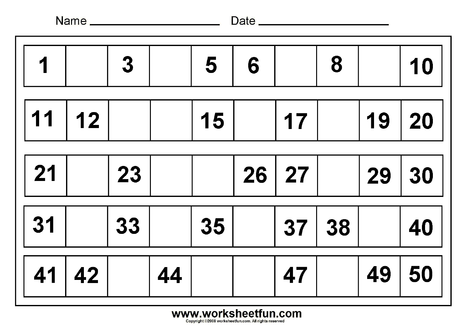 Worksheet On Missing Numbers 1 20