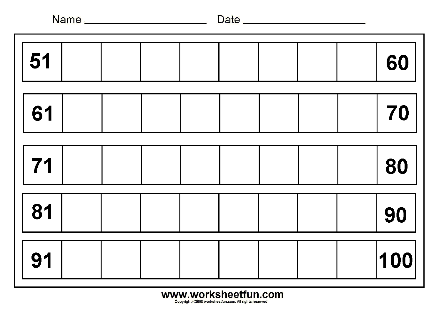 Missing Numbers 51 To 100 8 Worksheets Free Printable Worksheets Worksheetfun