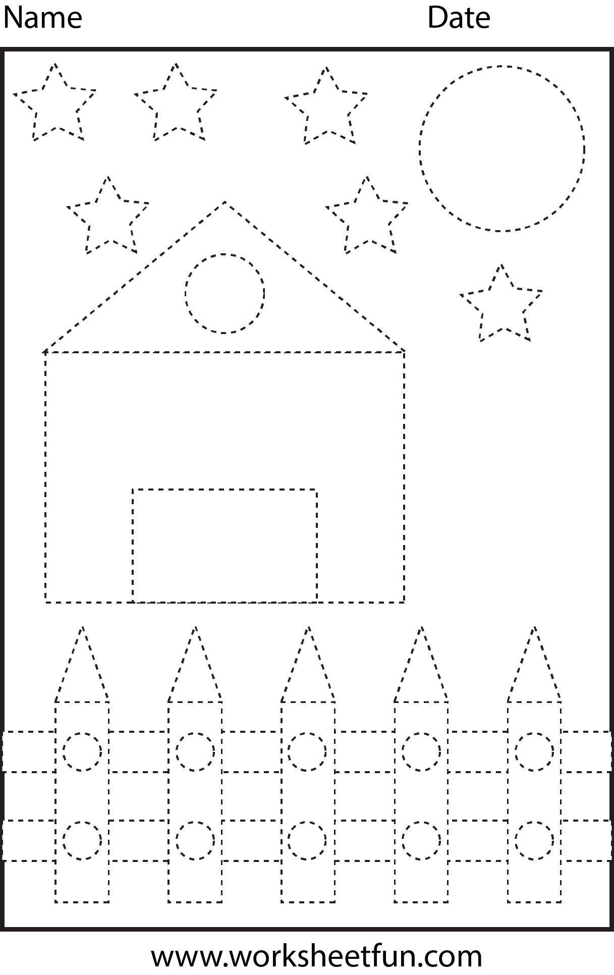 Picture Tracing Shapes 1 Worksheet Free Printable Worksheets Worksheetfun