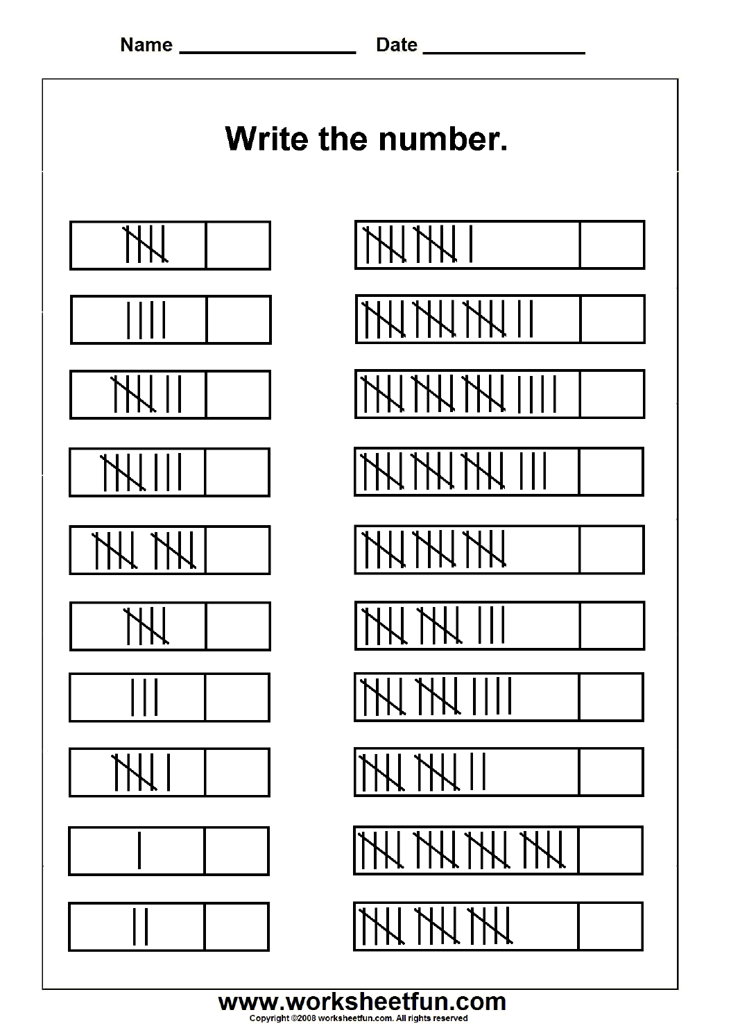 Tally Marks 1 Worksheet Free Printable Worksheets