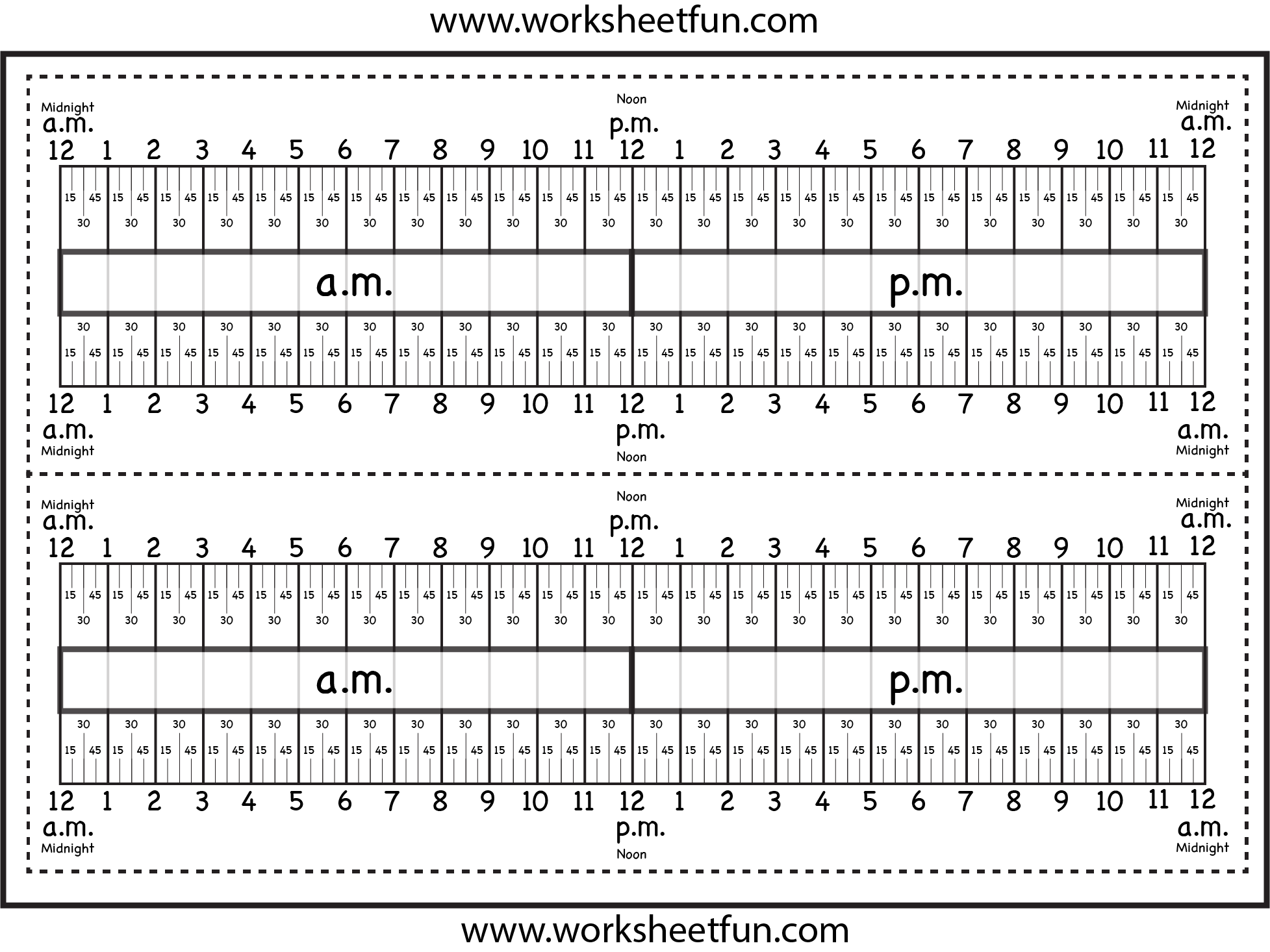 Level 3 Elapsed Time Ruler Two Worksheets Free