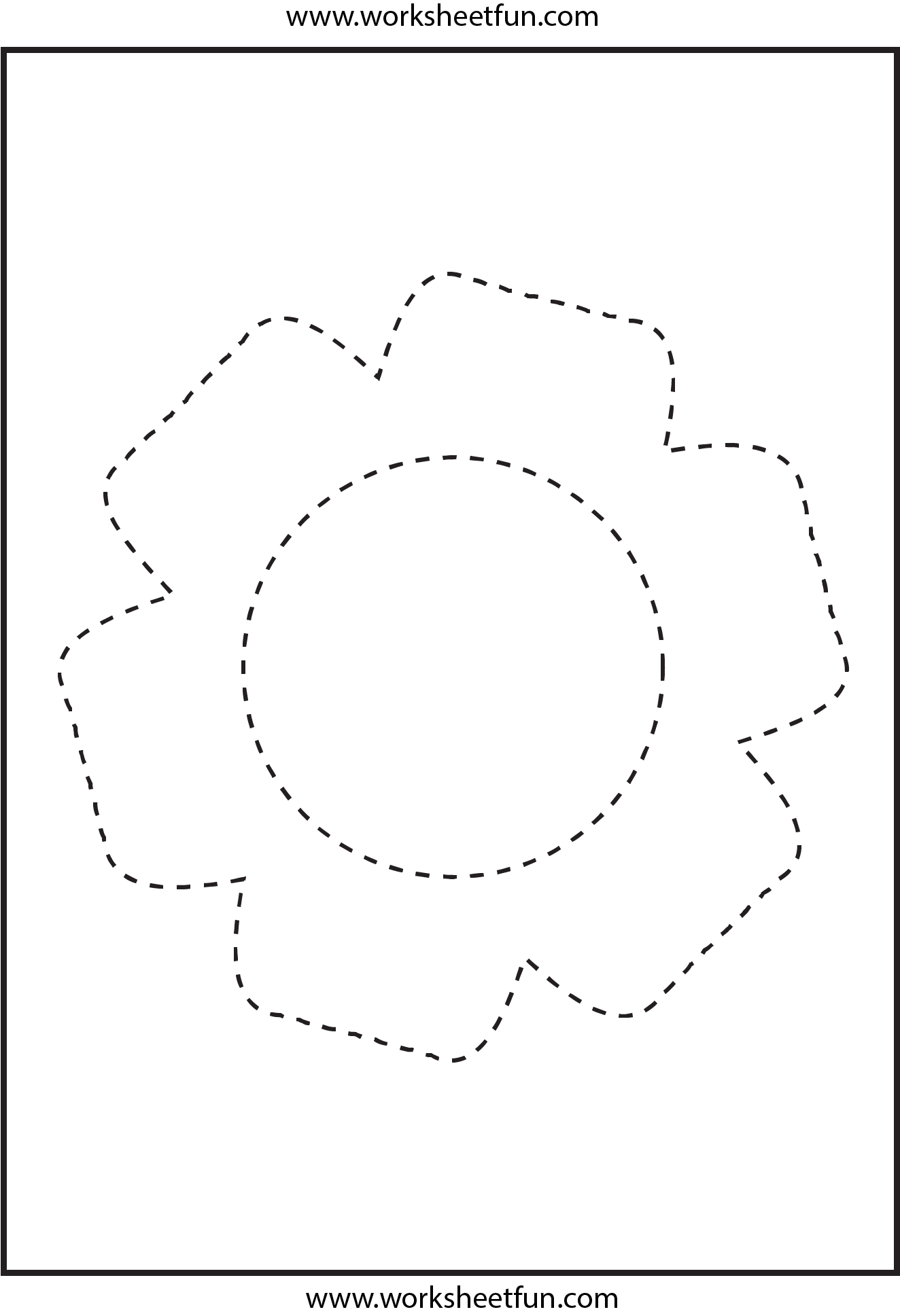 Picture Tracing Flower 1 Worksheet Free Printable