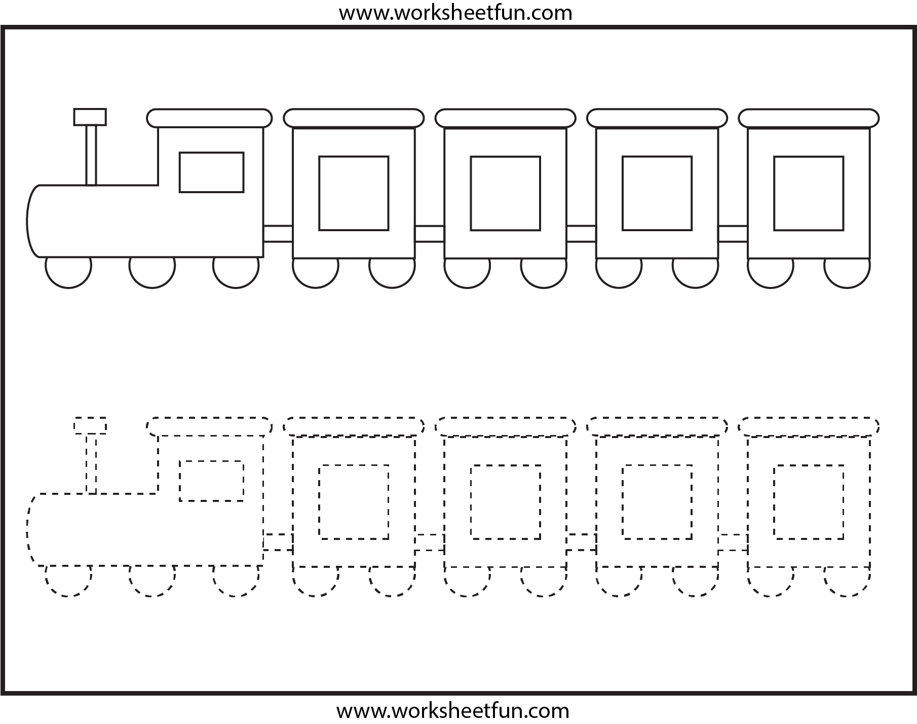 Picture Tracing Train 1 Worksheet Free Printable Worksheets Worksheetfun