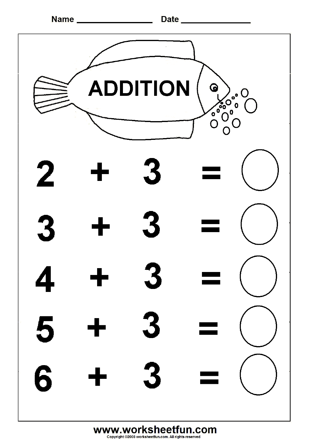 Beginner Addition 6 Kindergarten Addition Worksheets