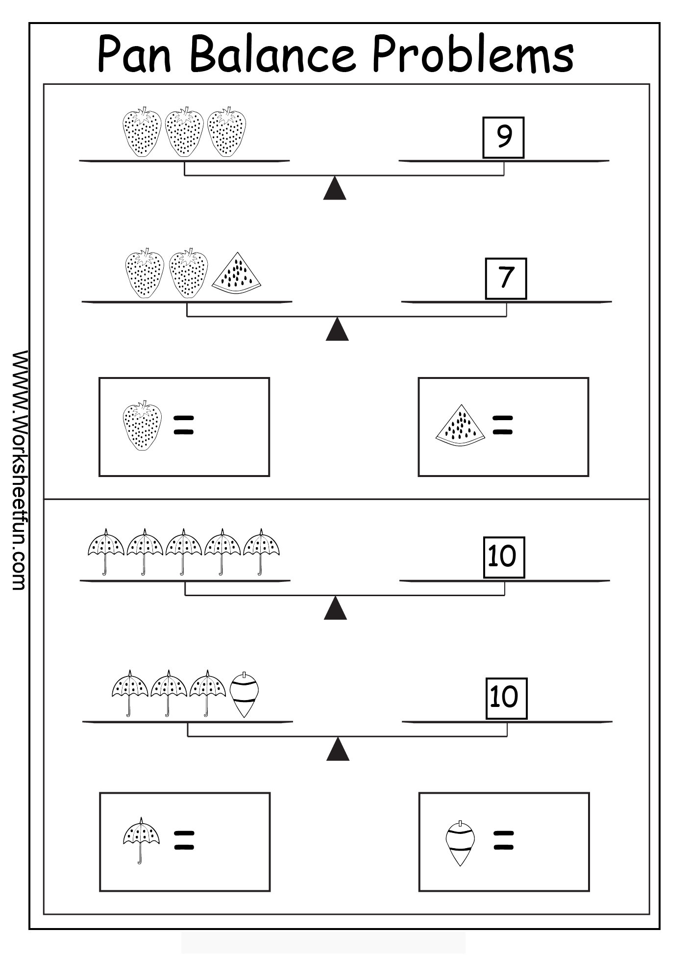 Algebra Worksheets Algebraic Reasoning Balance
