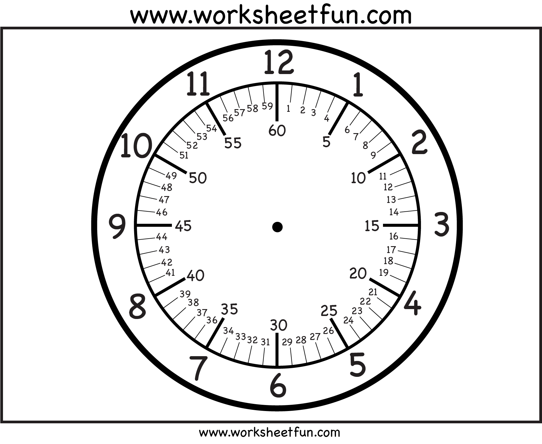 Clock Template With Minutes Worksheets Printables