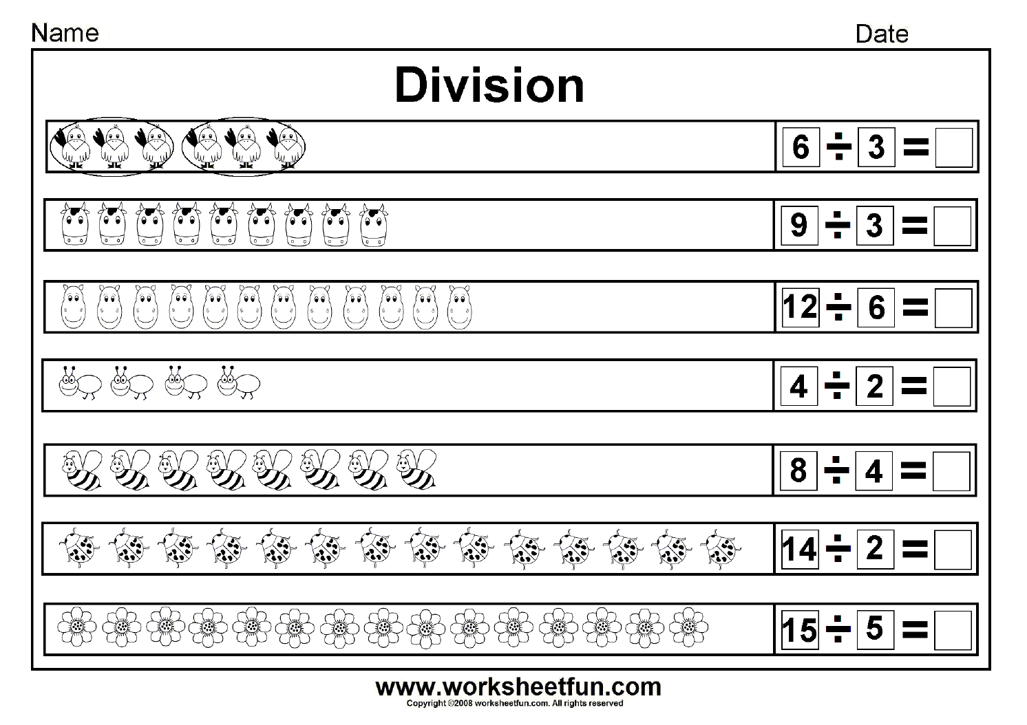 Worksheet For Beginning Division