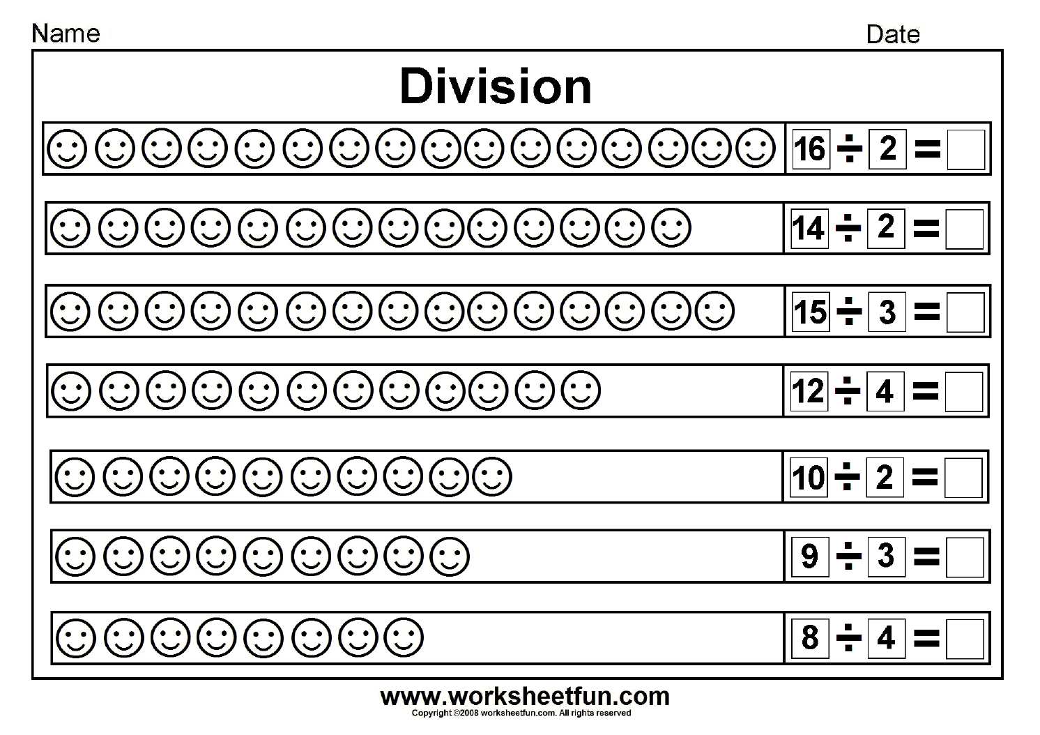 Key Stage 1 Division Worksheet