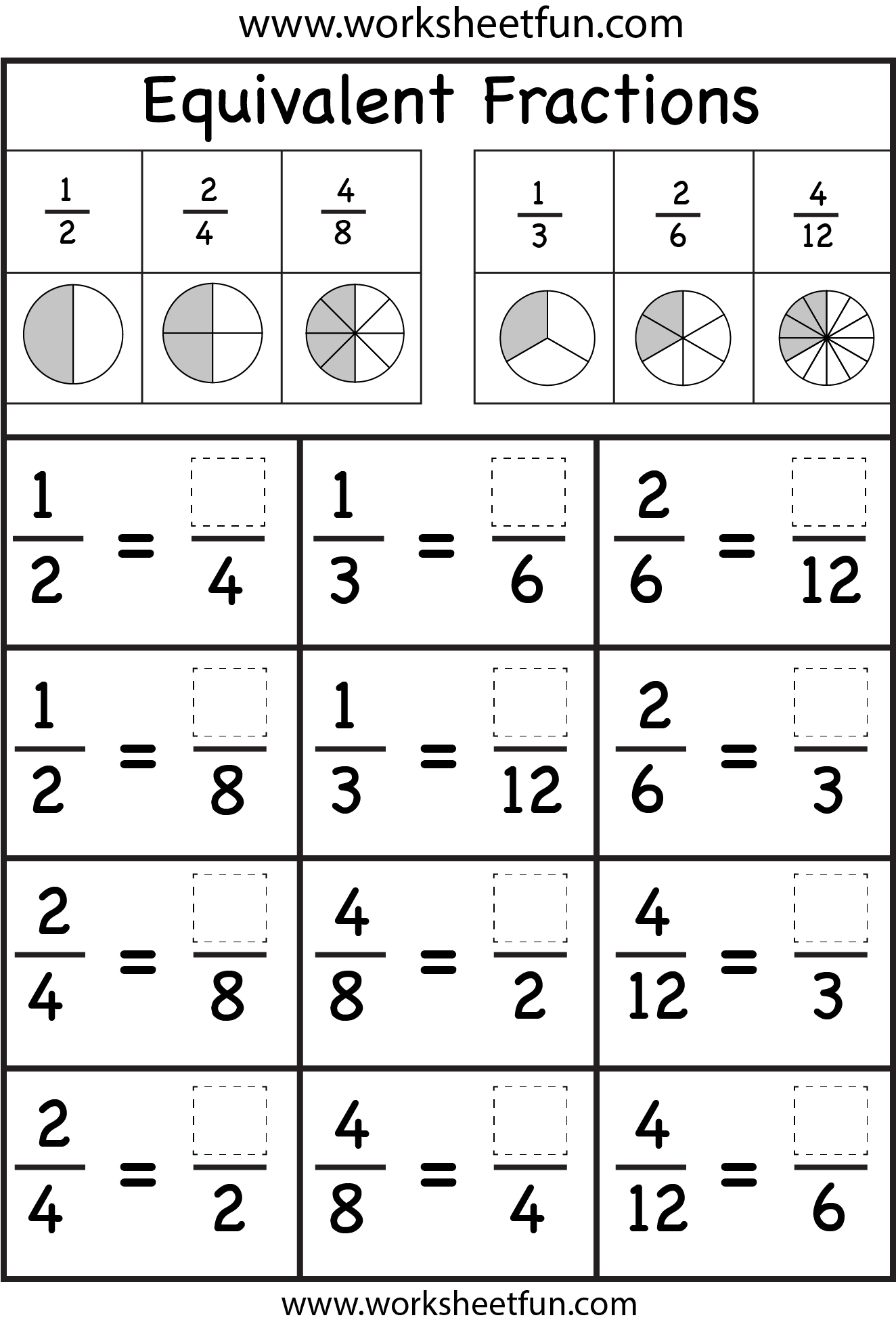 Equivalent Fractions Worksheet Free Printable Worksheets