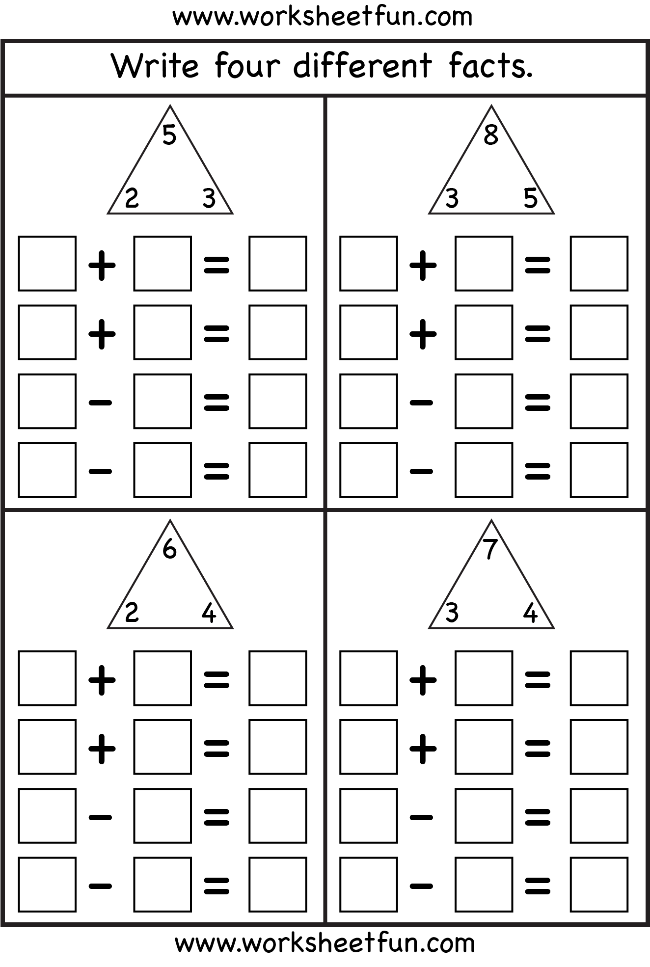 Fact Family Complete Each Fact Family 4 Worksheets Free Printable Worksheets Worksheetfun