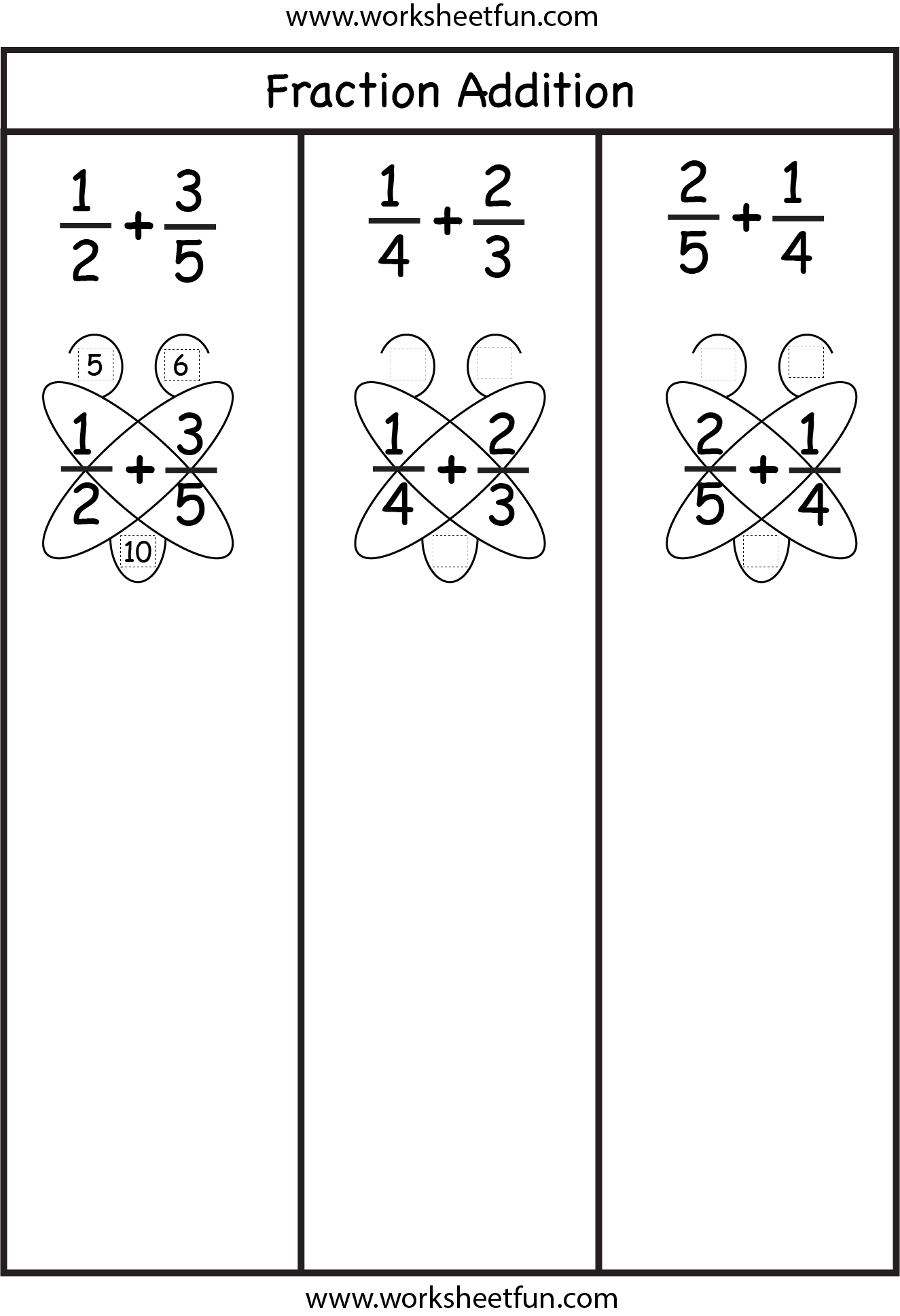 Fraction Addition Butterfly Method Free Printable Worksheets Worksheetfun