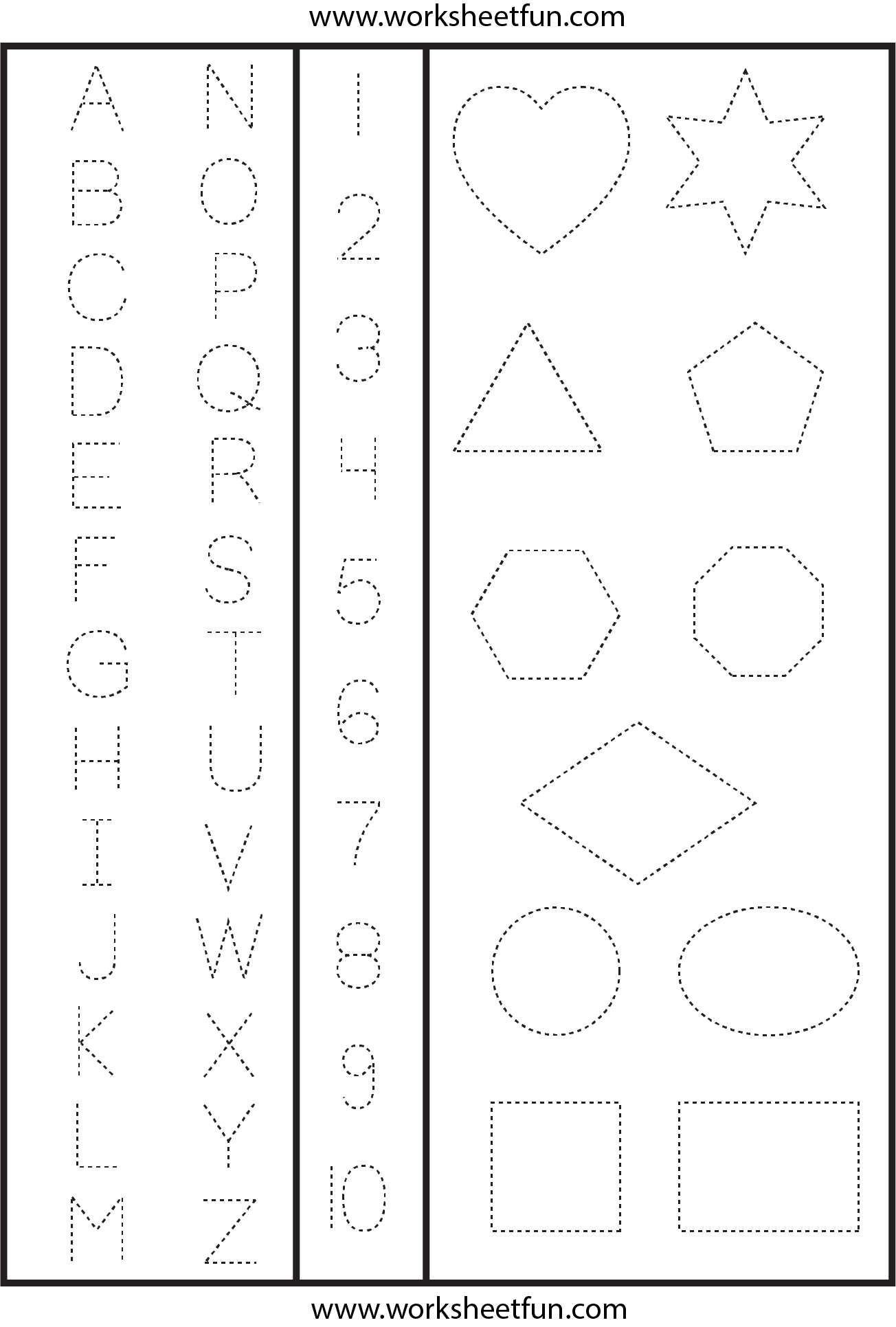 Letters Numbers And Shapes Tracing Worksheet Free Printable Worksheets Worksheetfun
