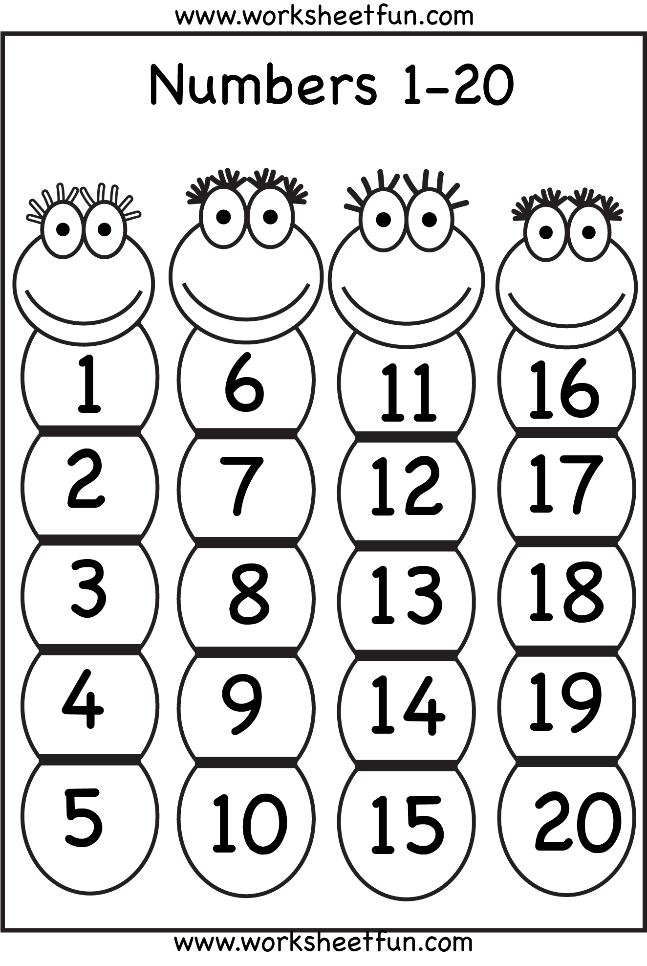 Number Chart 1 20 Free Printable Worksheets Worksheetfun