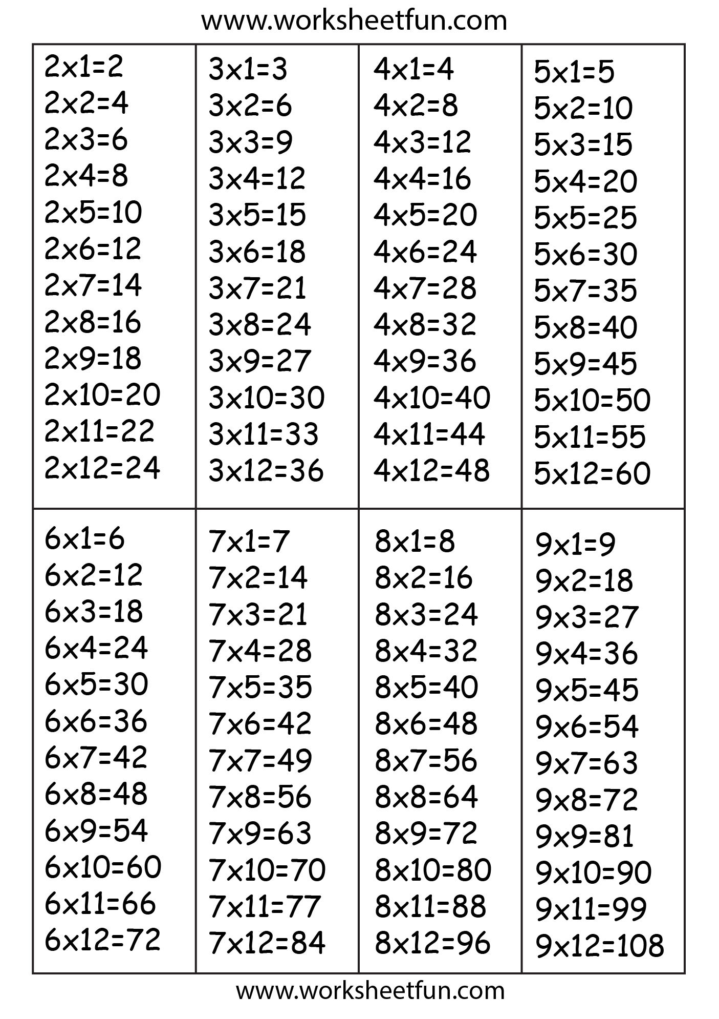 Times Table Chart 2 3 4 5 6 7 8 Amp 9 Free
