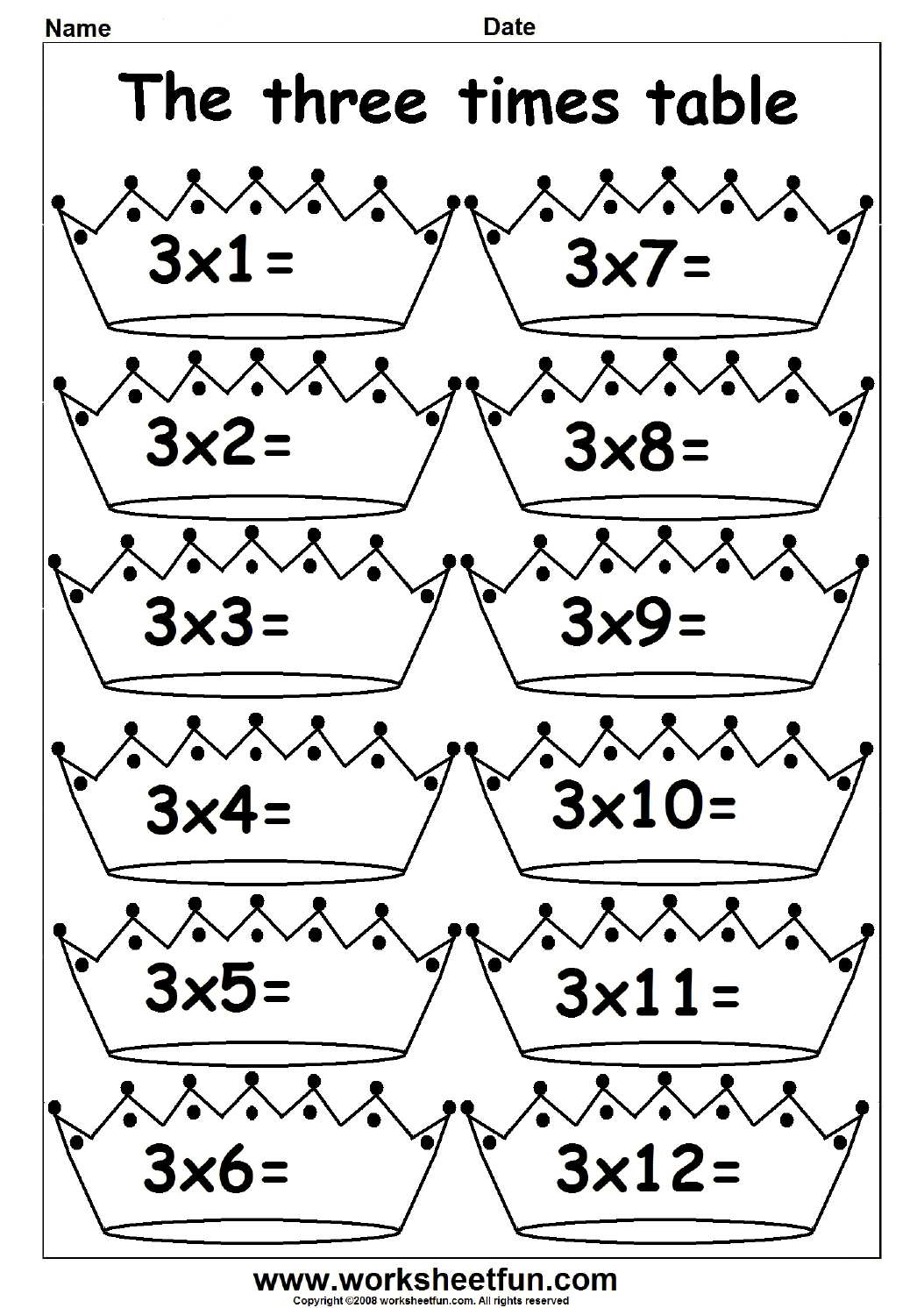 Search Results For 3 Times Table Colouring Worksheet