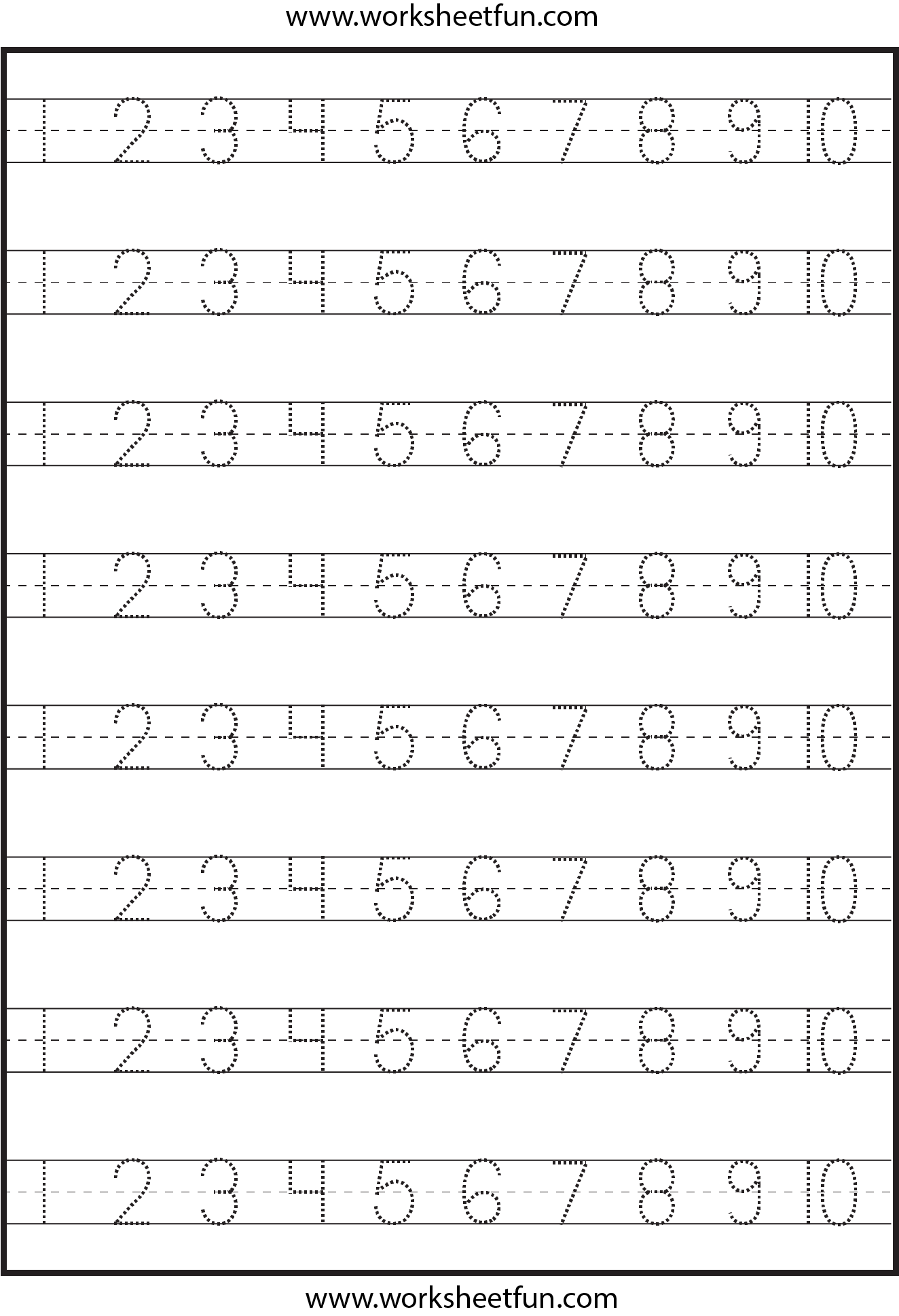 Number Tracing 1 10 Worksheet Free Printable Worksheets Worksheetfun