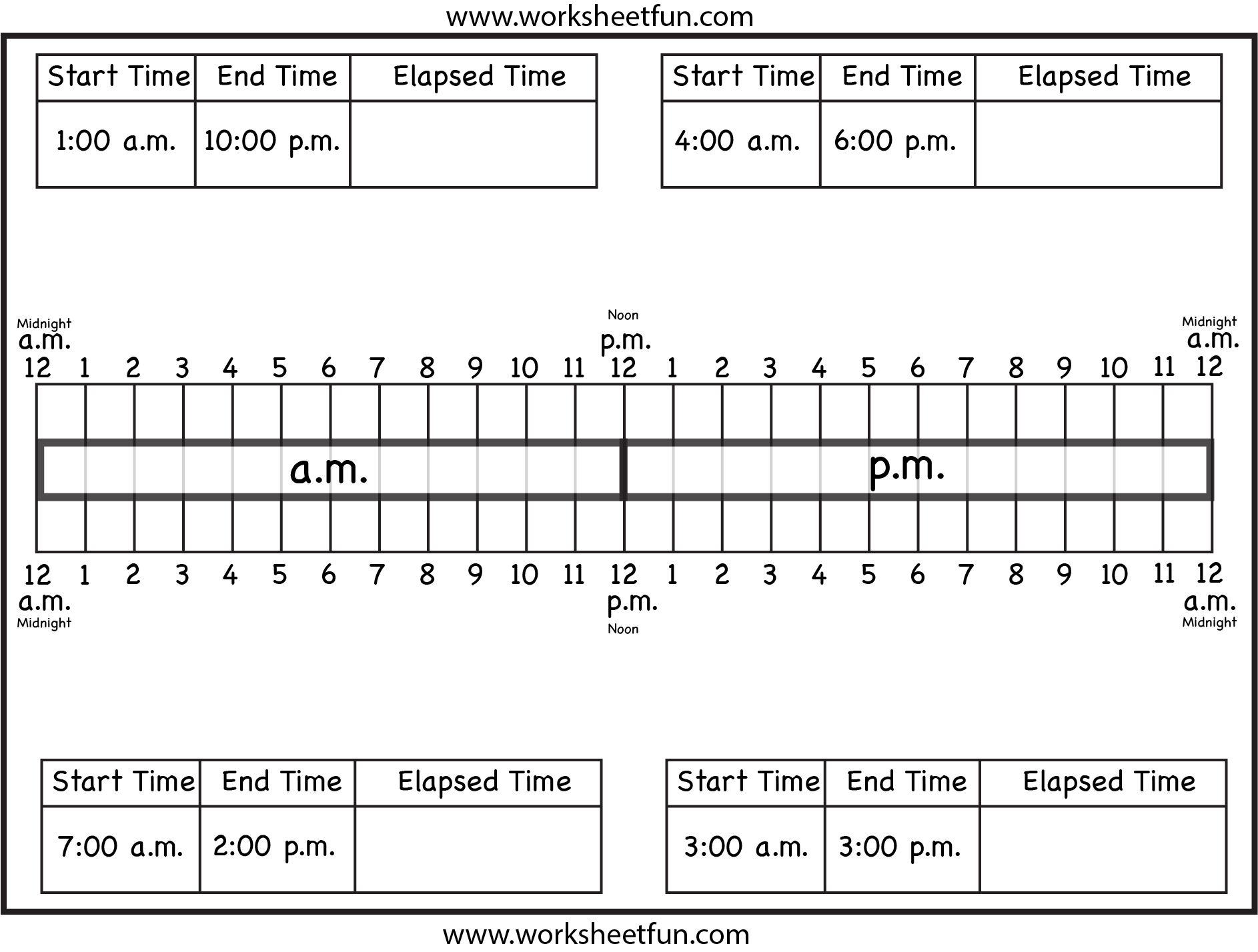 Calculate Elapsed Time Ten Worksheets Free Printable