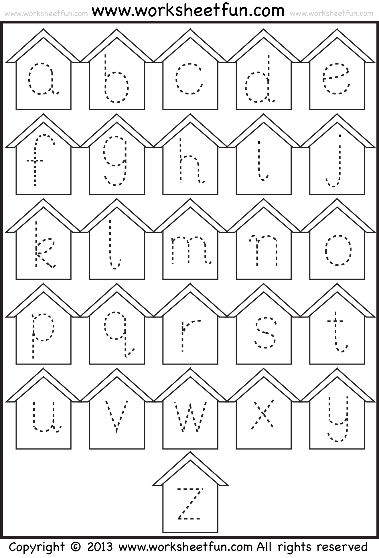 Lower Case Letter Tracing Worksheets