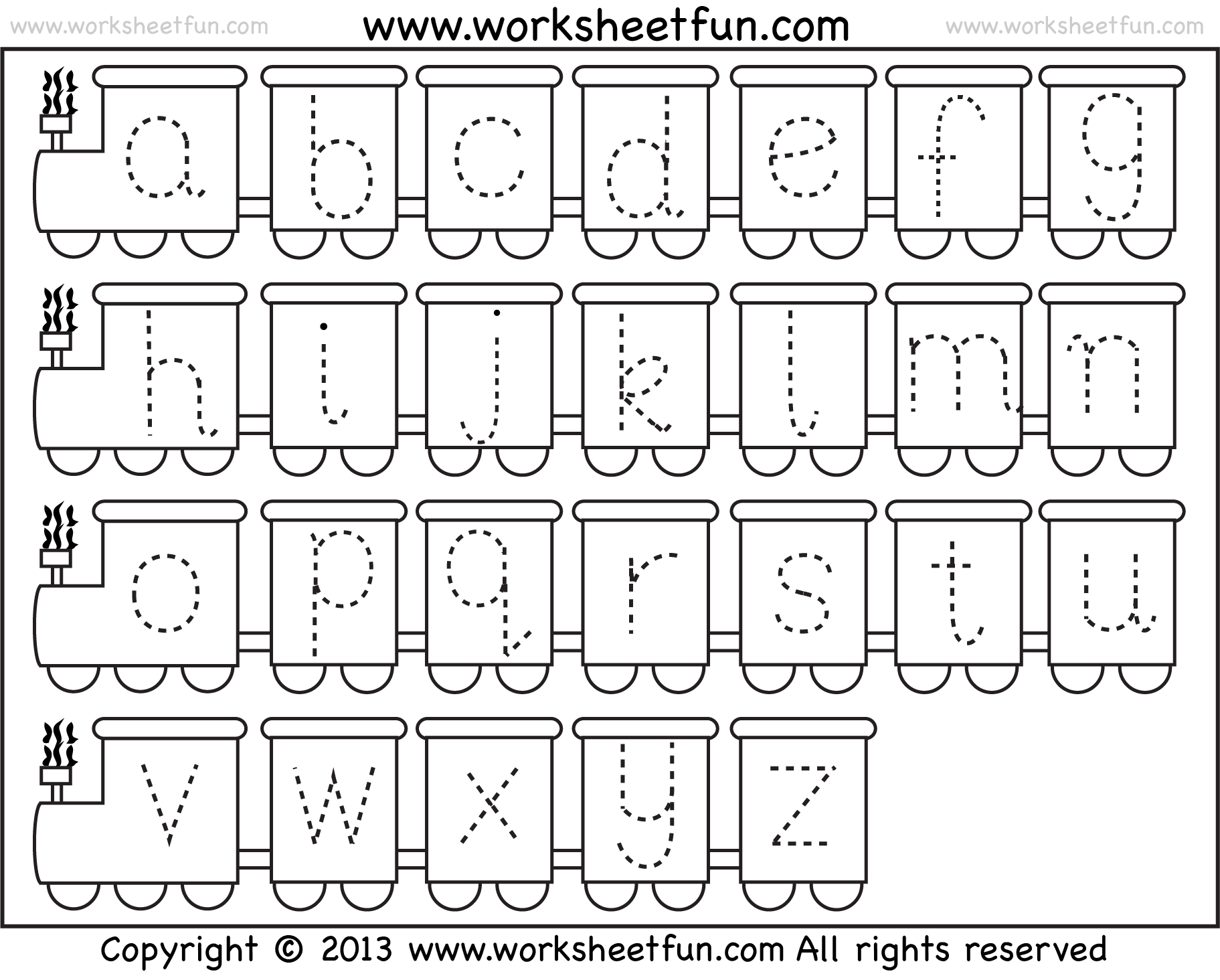 Small Letter Tracing Lowercase Worksheet Train