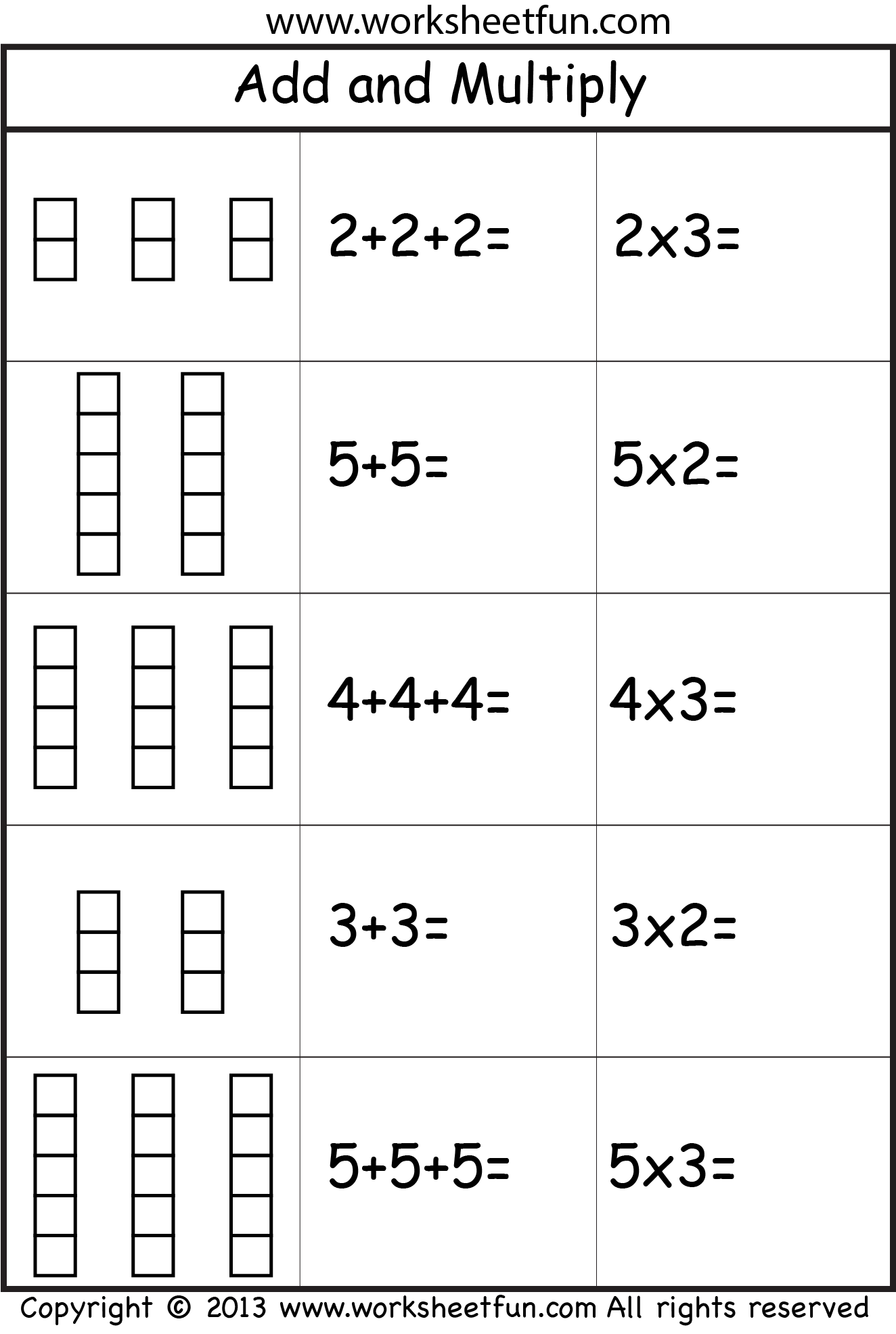 Multiplication Add And Multiply Repeated Addition Two