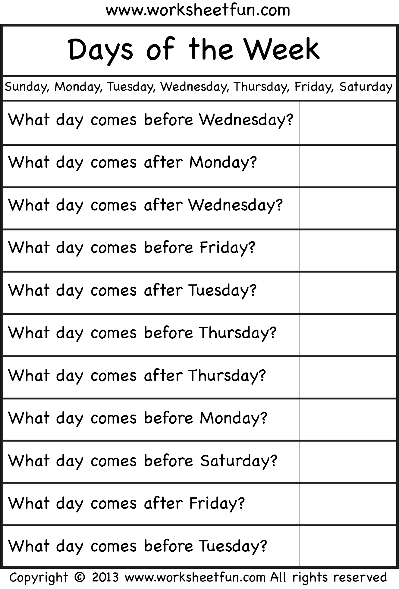 Days Of The Week Worksheet Free Printable Worksheets Worksheetfun