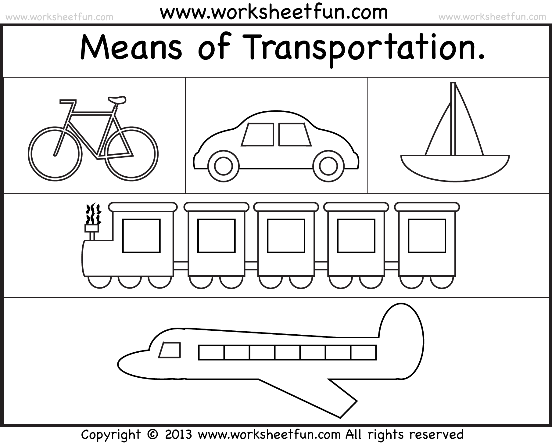 Means Of Transportation Worksheet Free Printable
