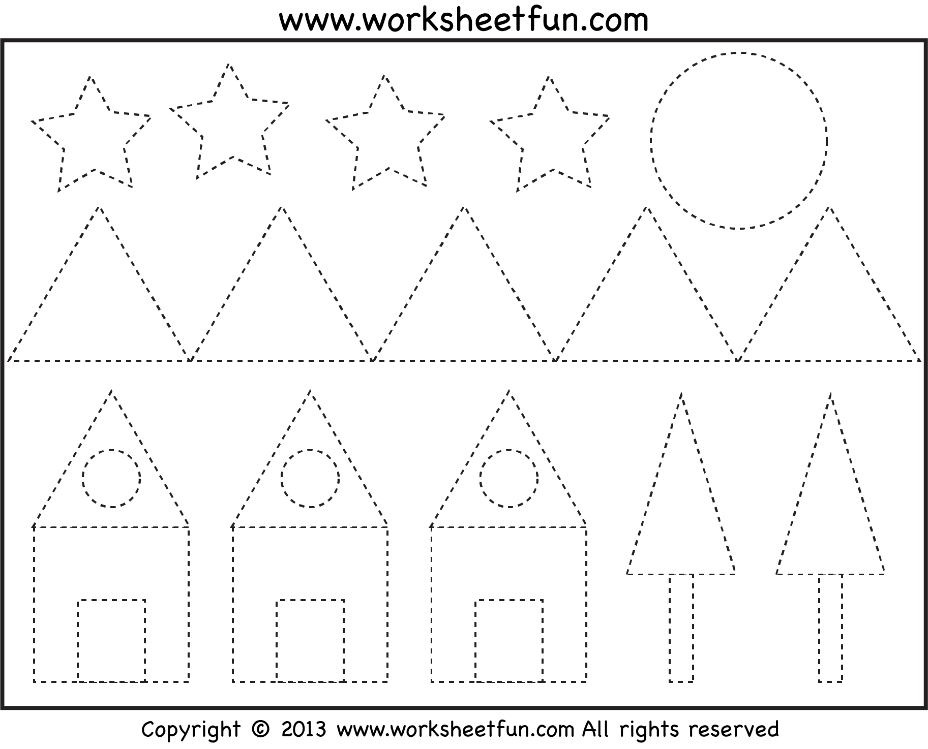Picture Tracing Shapes Two Worksheets Free Printable