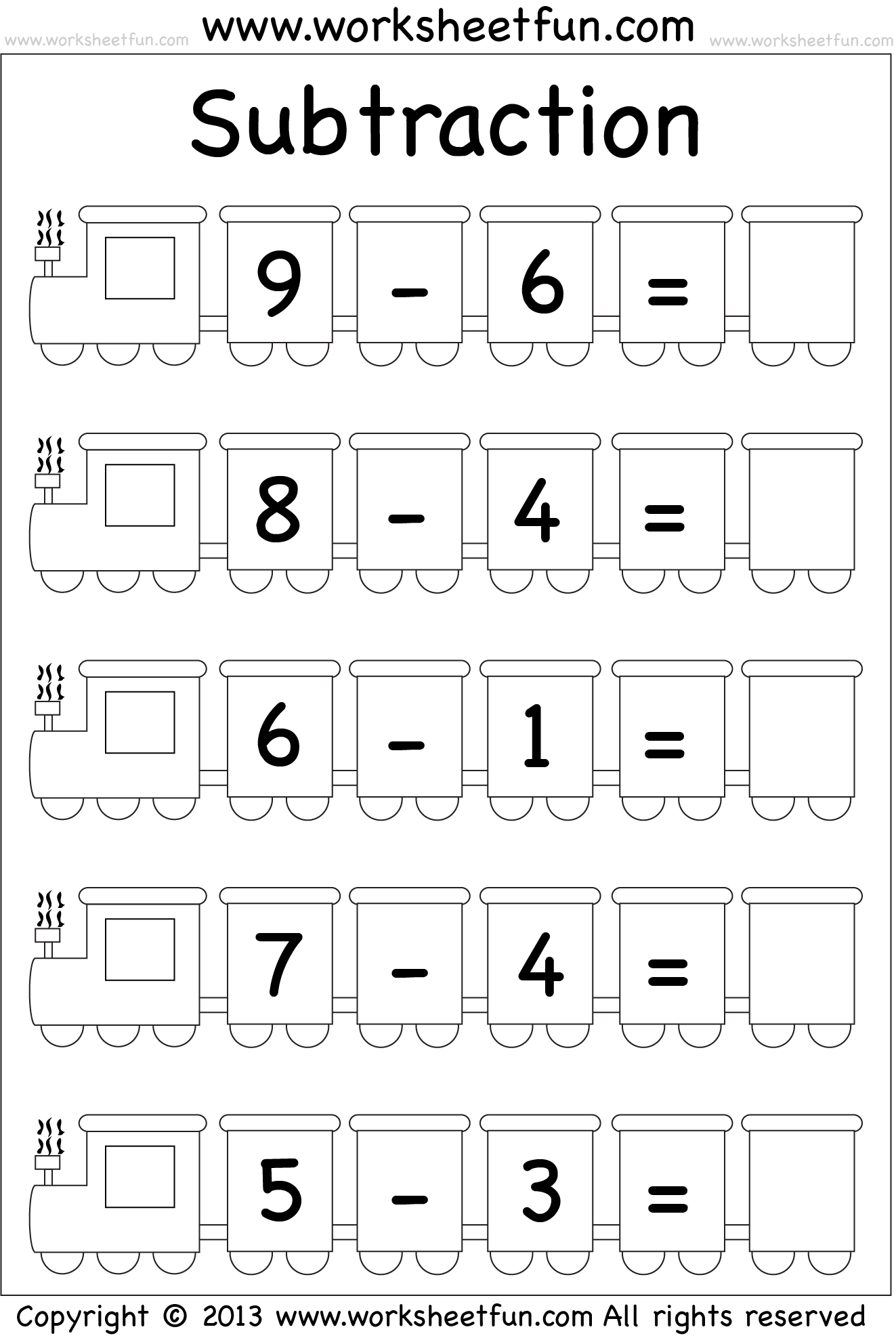 Subtraction Worksheet Kindergarten