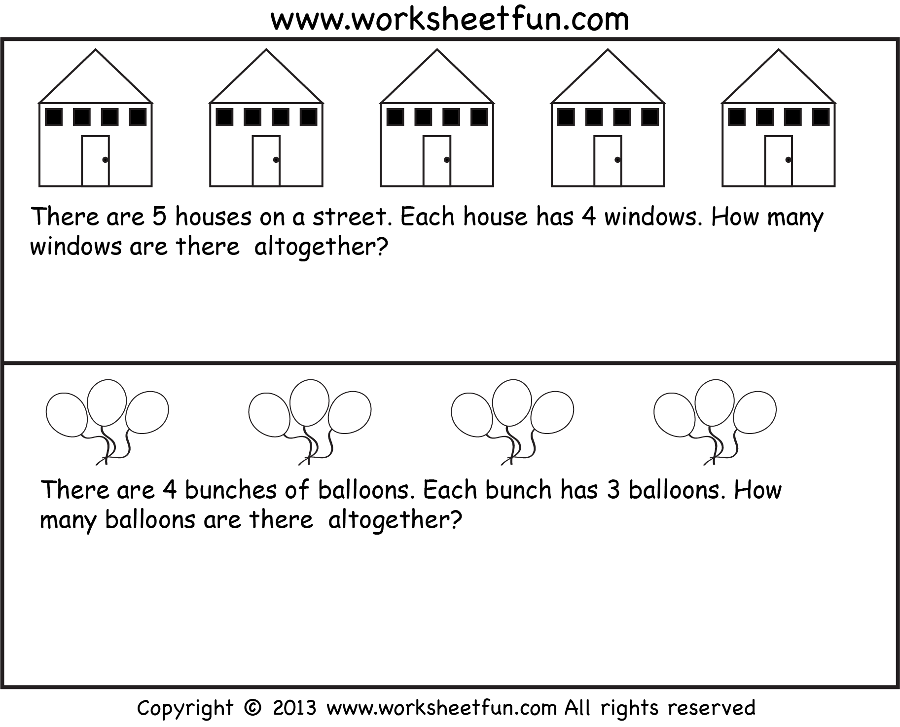 Repeated Addition Multiplication Word Problems Seven