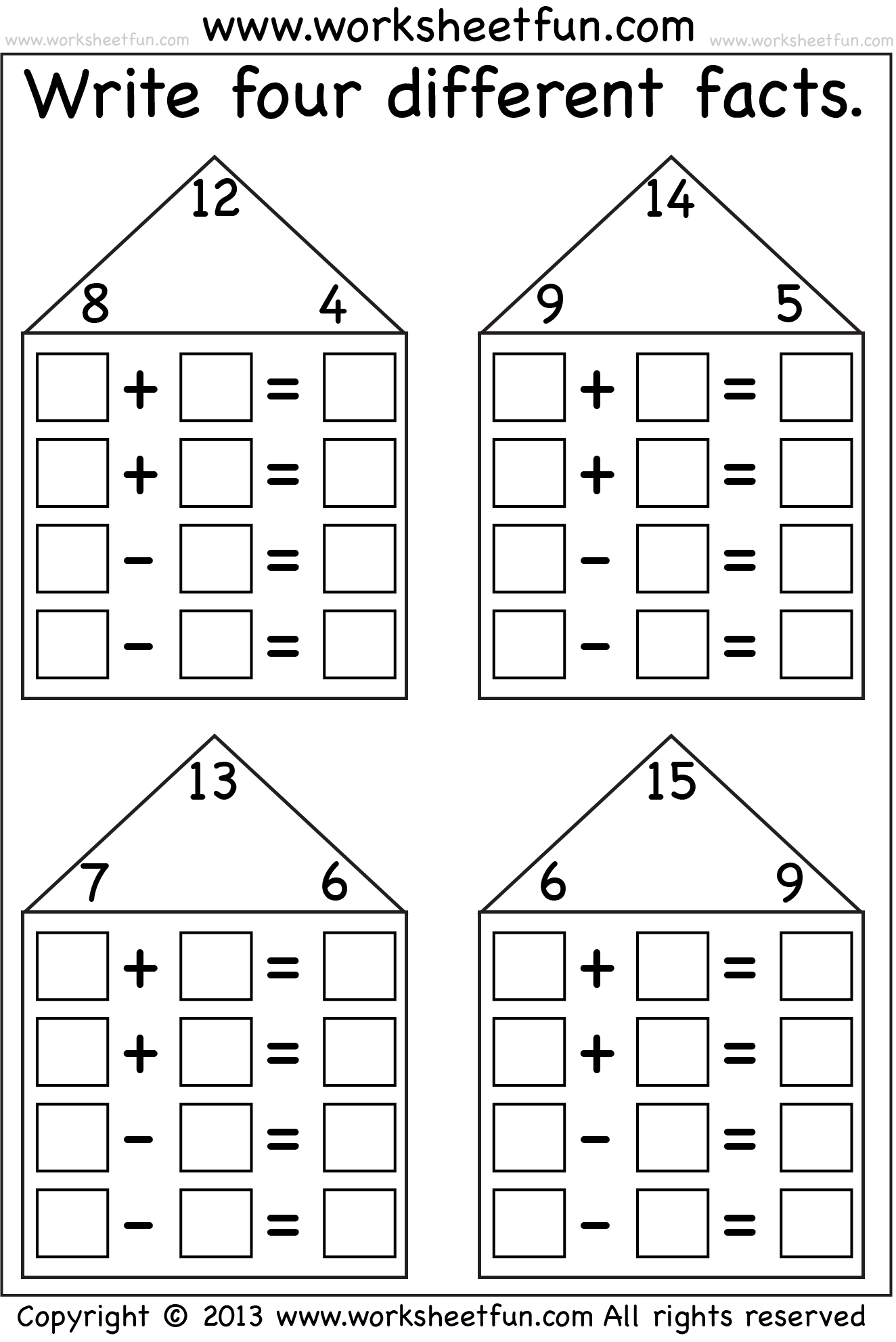 Fact Family Houses 7 Worksheets Free Printable