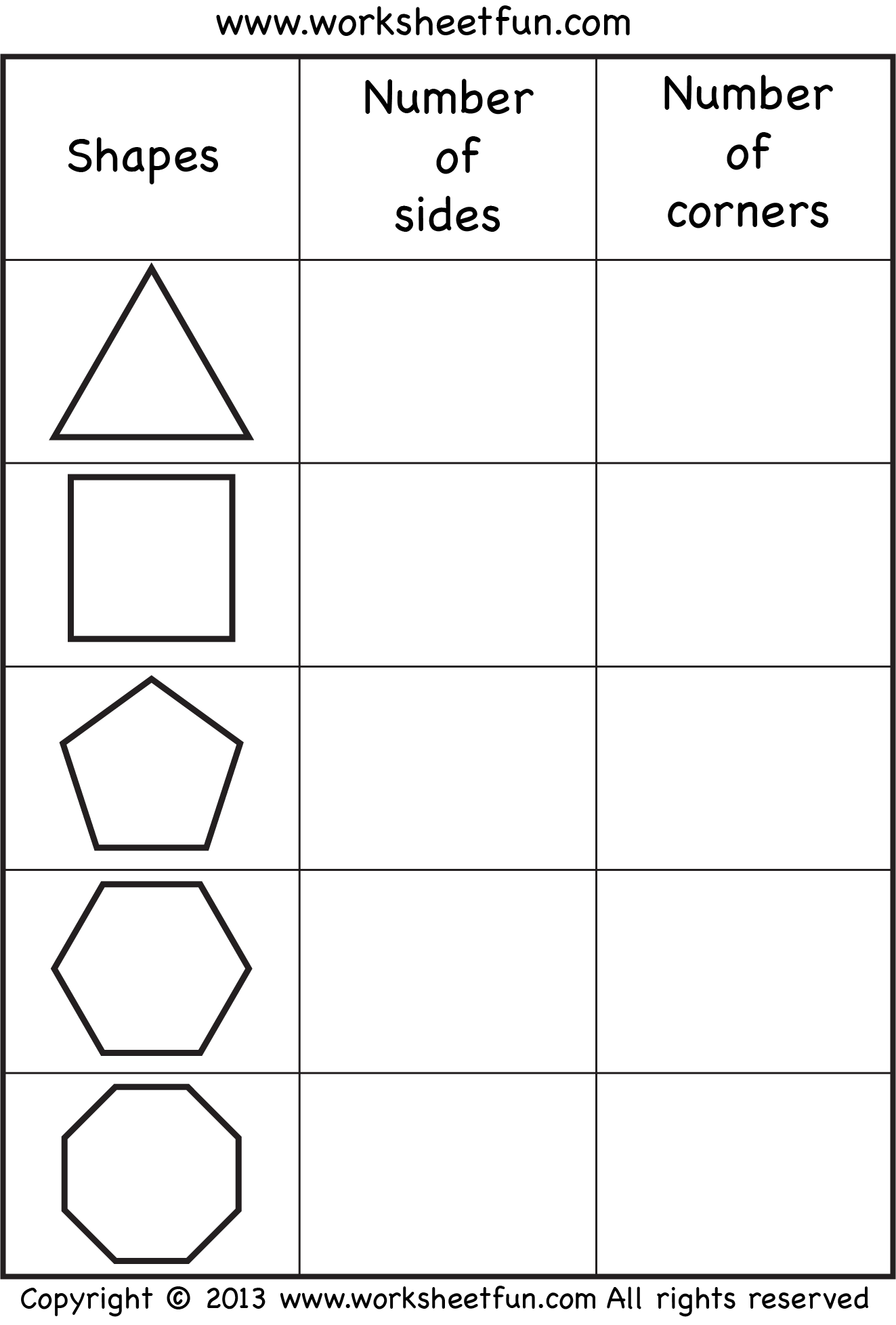 Sides And Corners Number Of Sides Number Of Corners Triangle Square Pentagon Hexagon