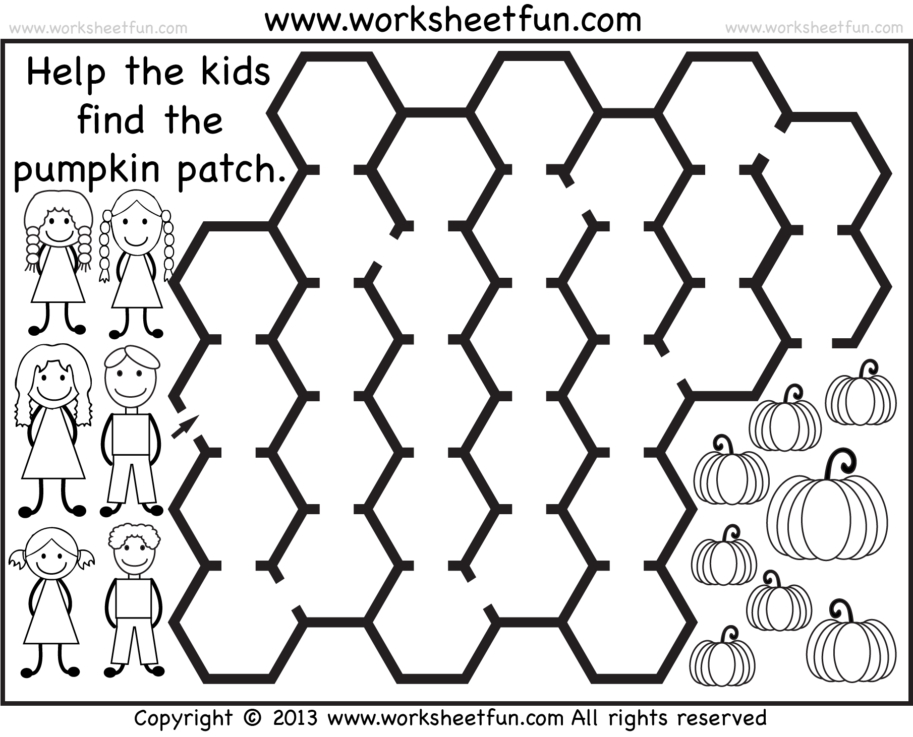 Pumpkin Patch Maze 2 Worksheets Free Printable