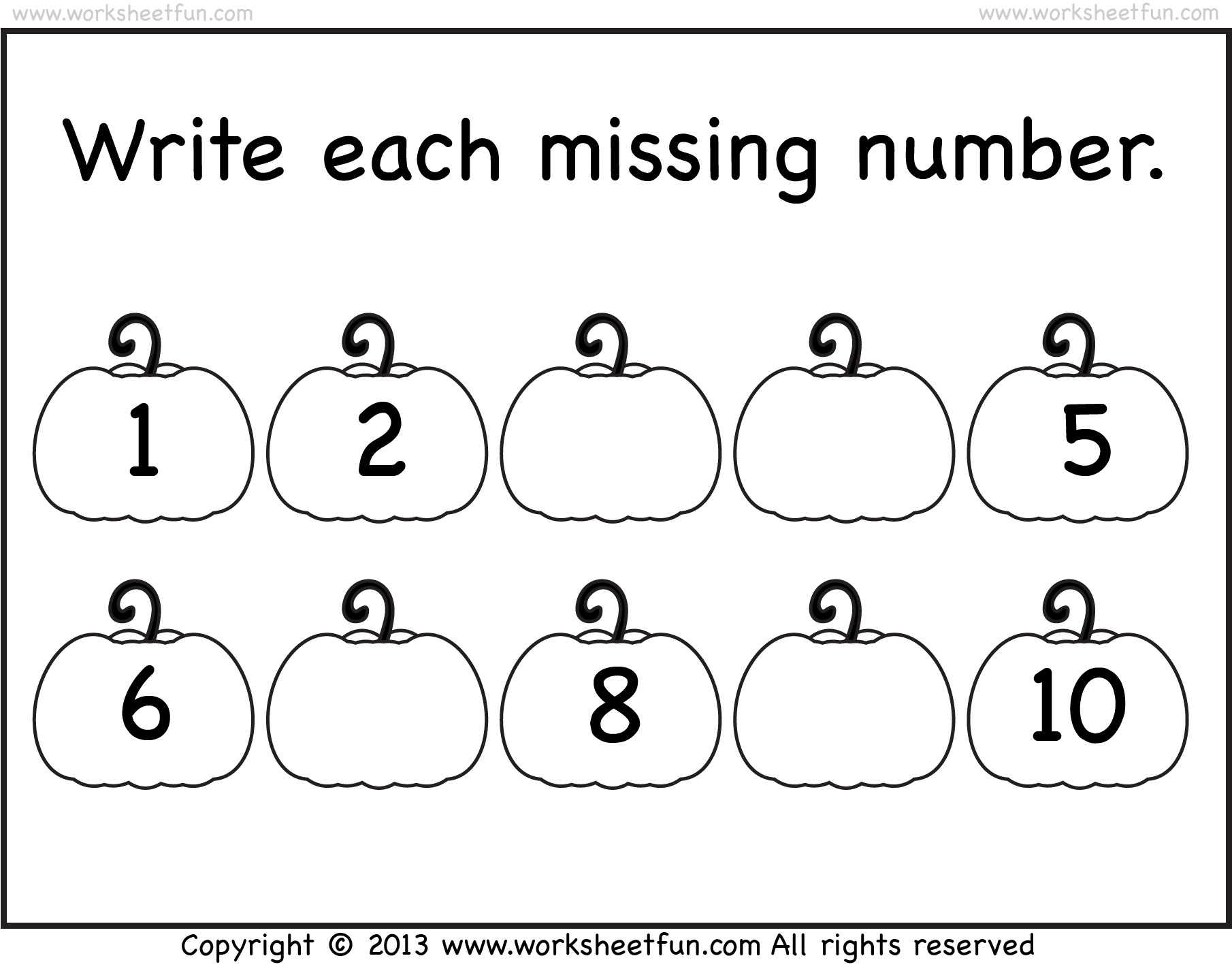 Missing Numbers 1 10 Worksheet Free Printable Worksheets Worksheetfun