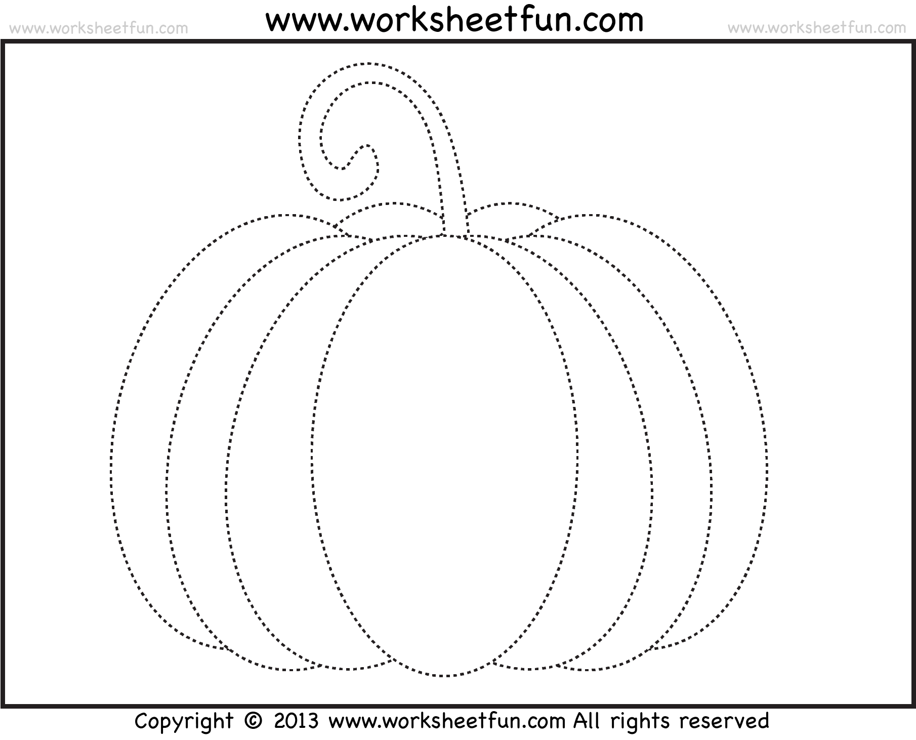 Pumpkin Tracing 3 Worksheets Free Printable Worksheets
