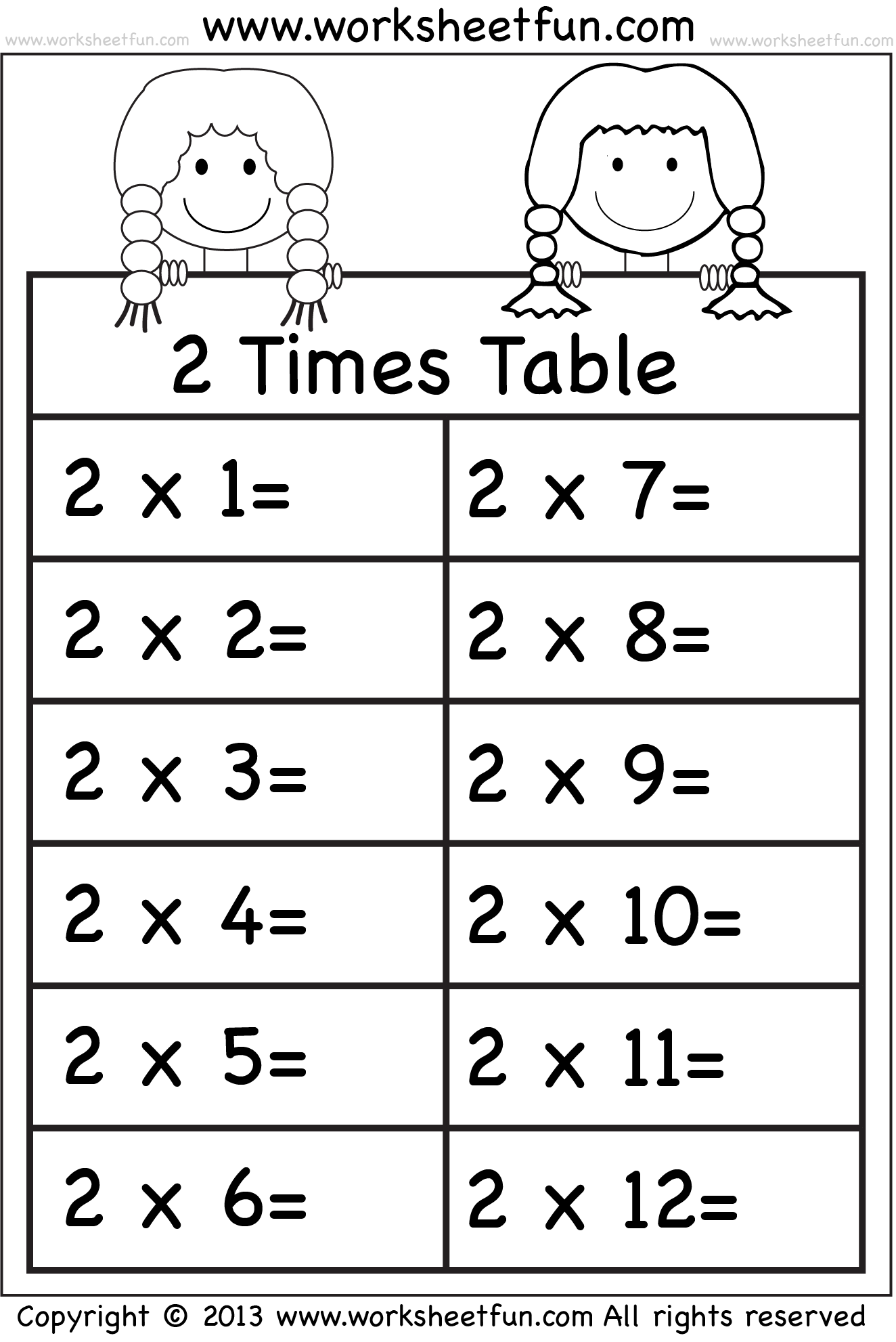 Times Tables Worksheets 2 3 4 5 6 7 8 9 10 11