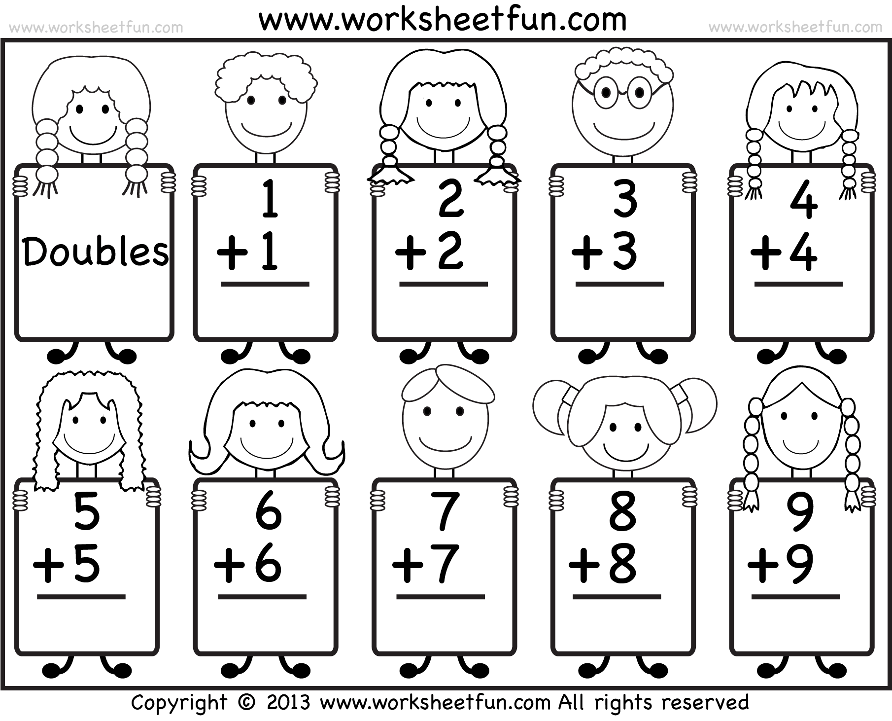 Addition Doubles Facts Beginner Addition Worksheet Free Printable Worksheets Worksheetfun