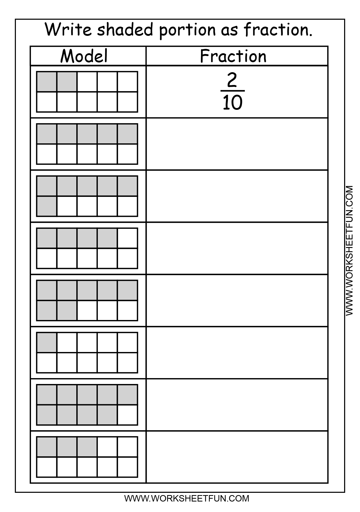 Fraction Model 2 Worksheets Free Printable