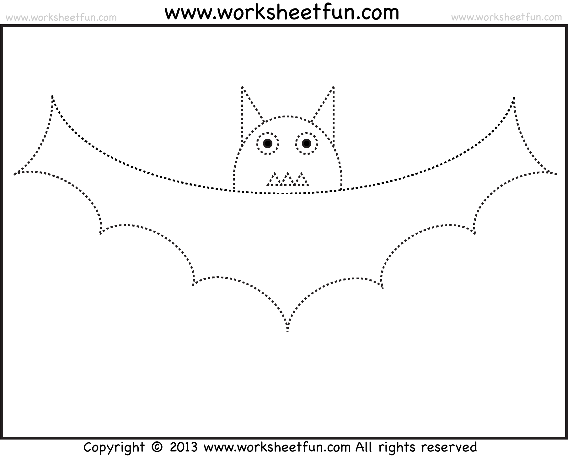 Bat Tracing And Coloring 2 Halloween Worksheets Free Printable Worksheets Worksheetfun
