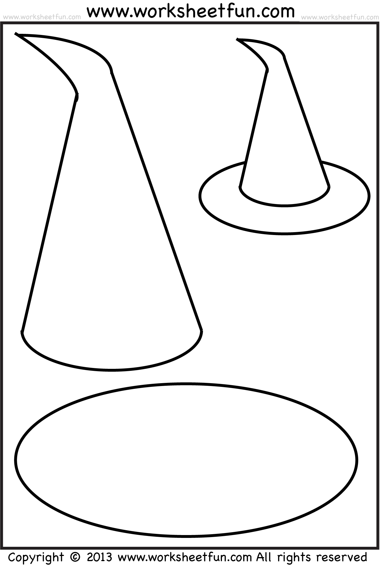 Witch Hat Tracing Coloring And Cutting 5 Halloween Worksheets Free Printable Worksheets