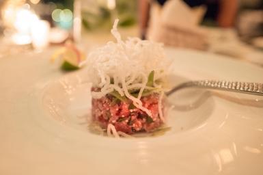 Larb Tuna Spicy Tuna Tartar, String Bean and Crispy Glass Noodles