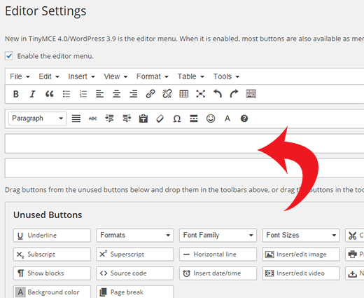 Adding the font size button to TinyMCE Advanced tool bar in WordPress
