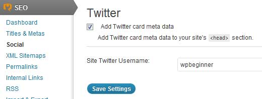 WordPress SEO by Yoast - Twitter Cards Settings