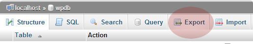 Xuất tab để xuất cơ sở dữ liệu WordPress bằng phpMyAdmin