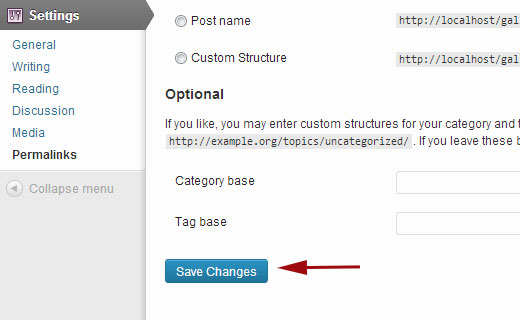 Update WordPress Permalinks settings