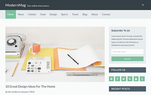 Modern Mag - A Magazine style WordPress theme for Video sites